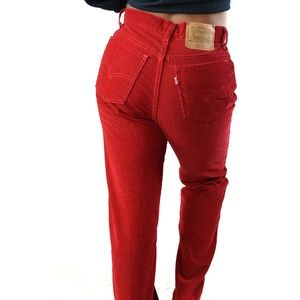 Vintage Levi's 910 High Waisted Red Corduroy Pants